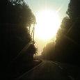 朝もやに上る太陽